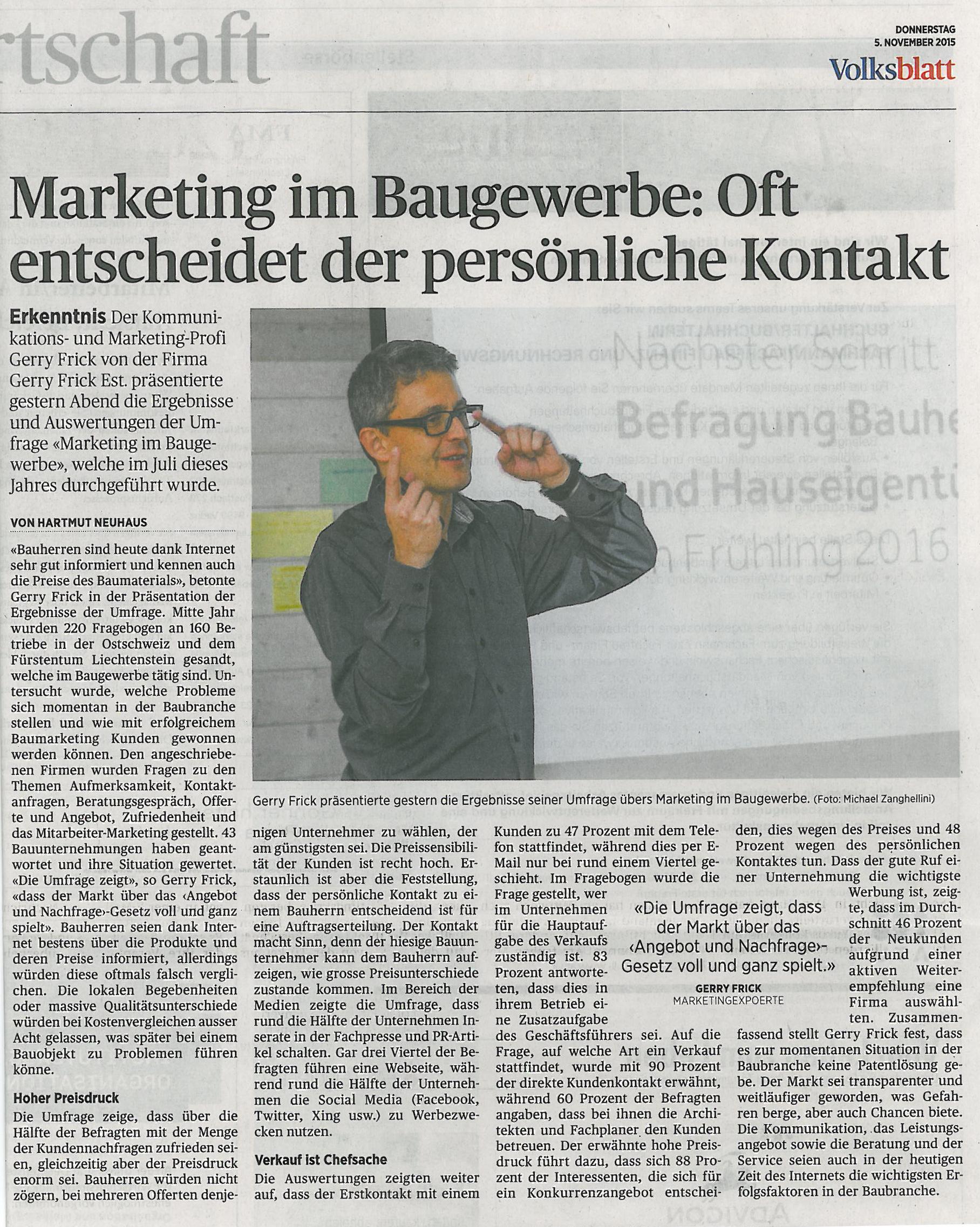 Pressetext zur Präsentation Marketing im Baugewerbe von GERRYFRICK