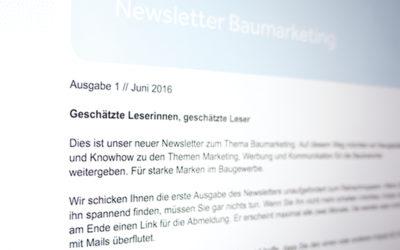 Neu: Baumarketing-Newsletter