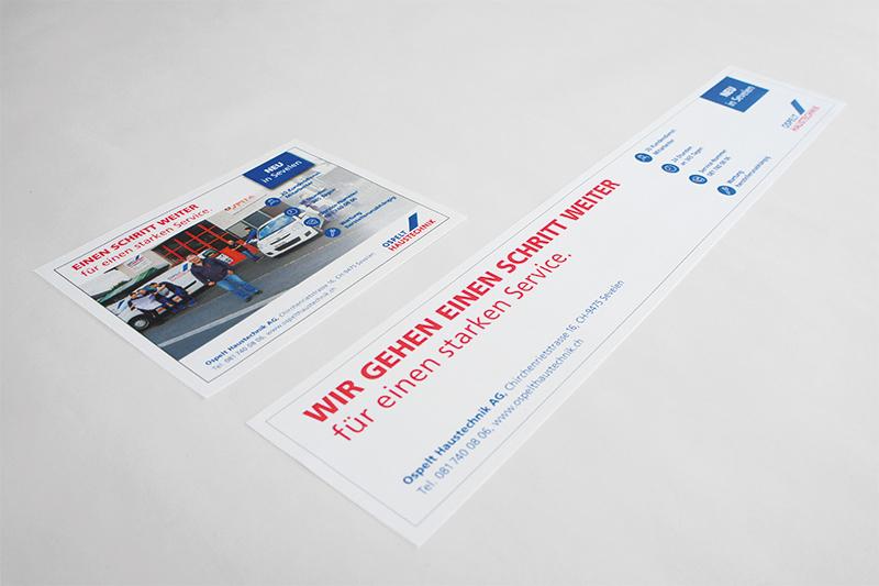 Konzept, Content und Design Inserat neuer Standort von GERRYFRICK für Ospelt Haustechnik