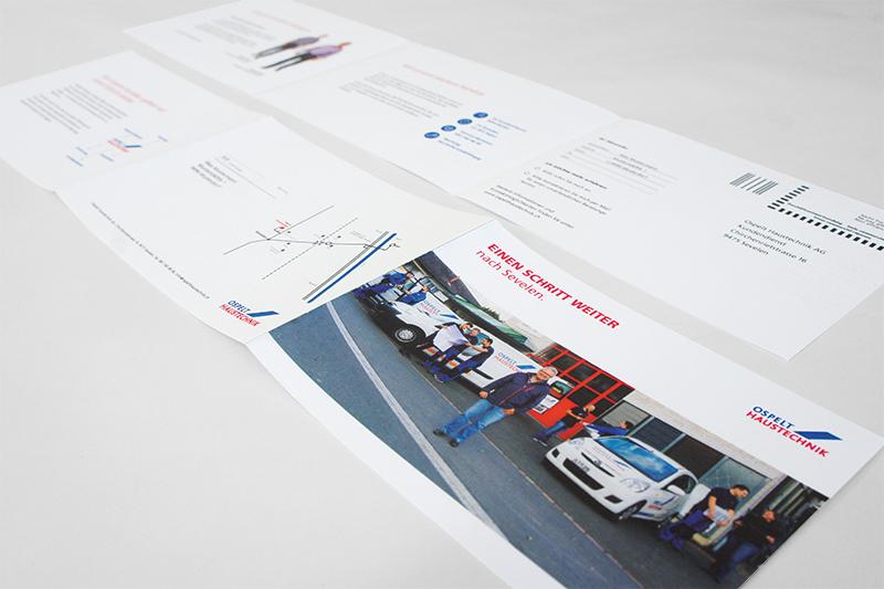 Konzept, Content und Design Mailing neuer Standort von GERRYFRICK für Ospelt Haustechnik