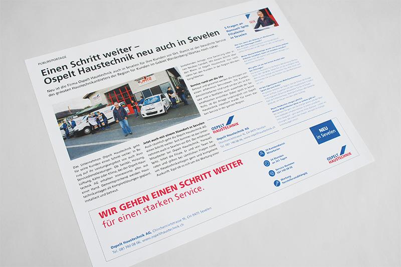 Konzept, Content und Design Publireportage neuer Standort von GERRYFRICK für Ospelt Haustechnik