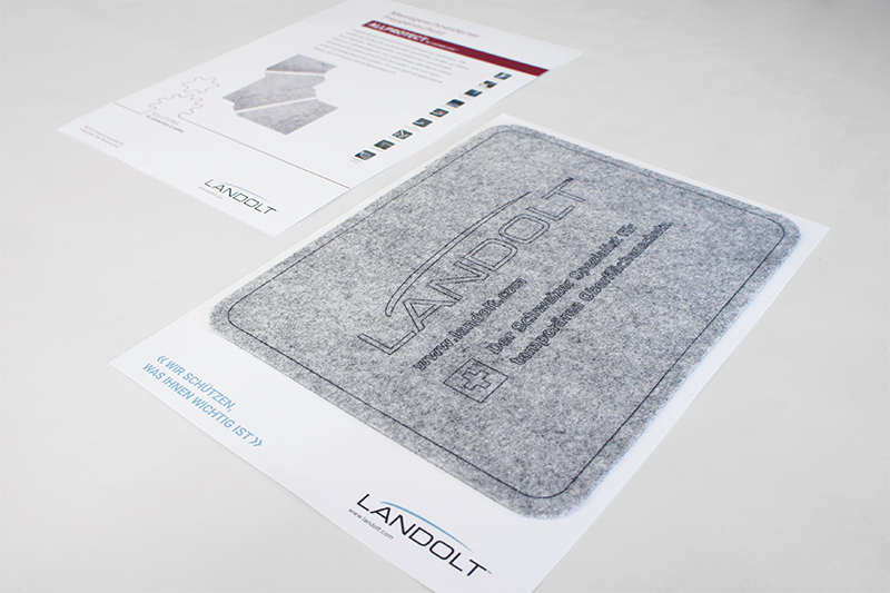 Flyer mit Produktmuster Konzept und Design von GERRYFRICK für Landolt