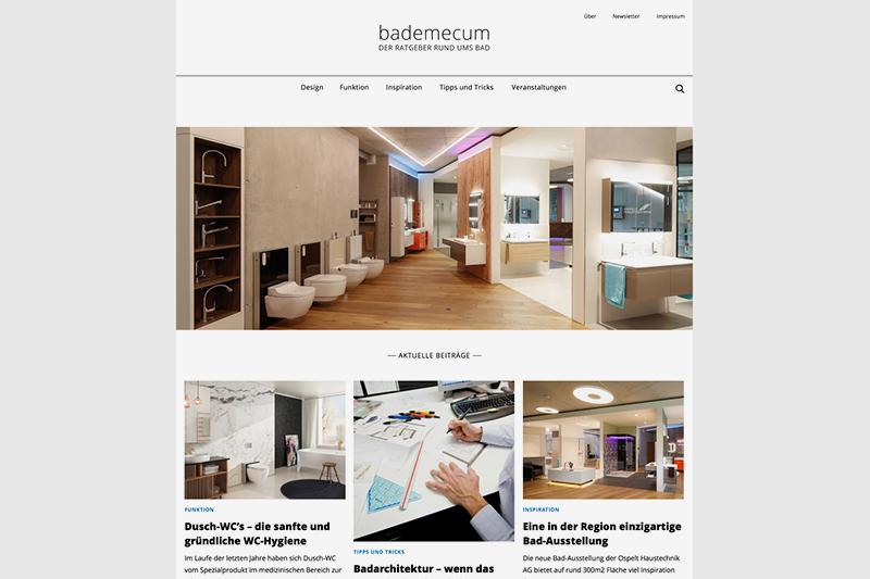 Startseite Blog Bademecum der Ospelt Haustechnik AG - Content Konzept und Design von GERRYFRICK