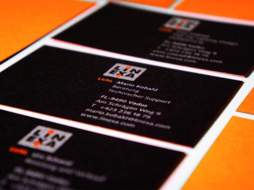 Kaschierte Visitenkarten für Linexa