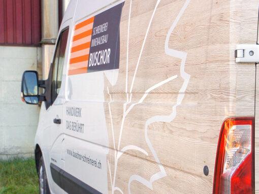 Fahrzeugbeschriftung für Schreinerei im Rheintal