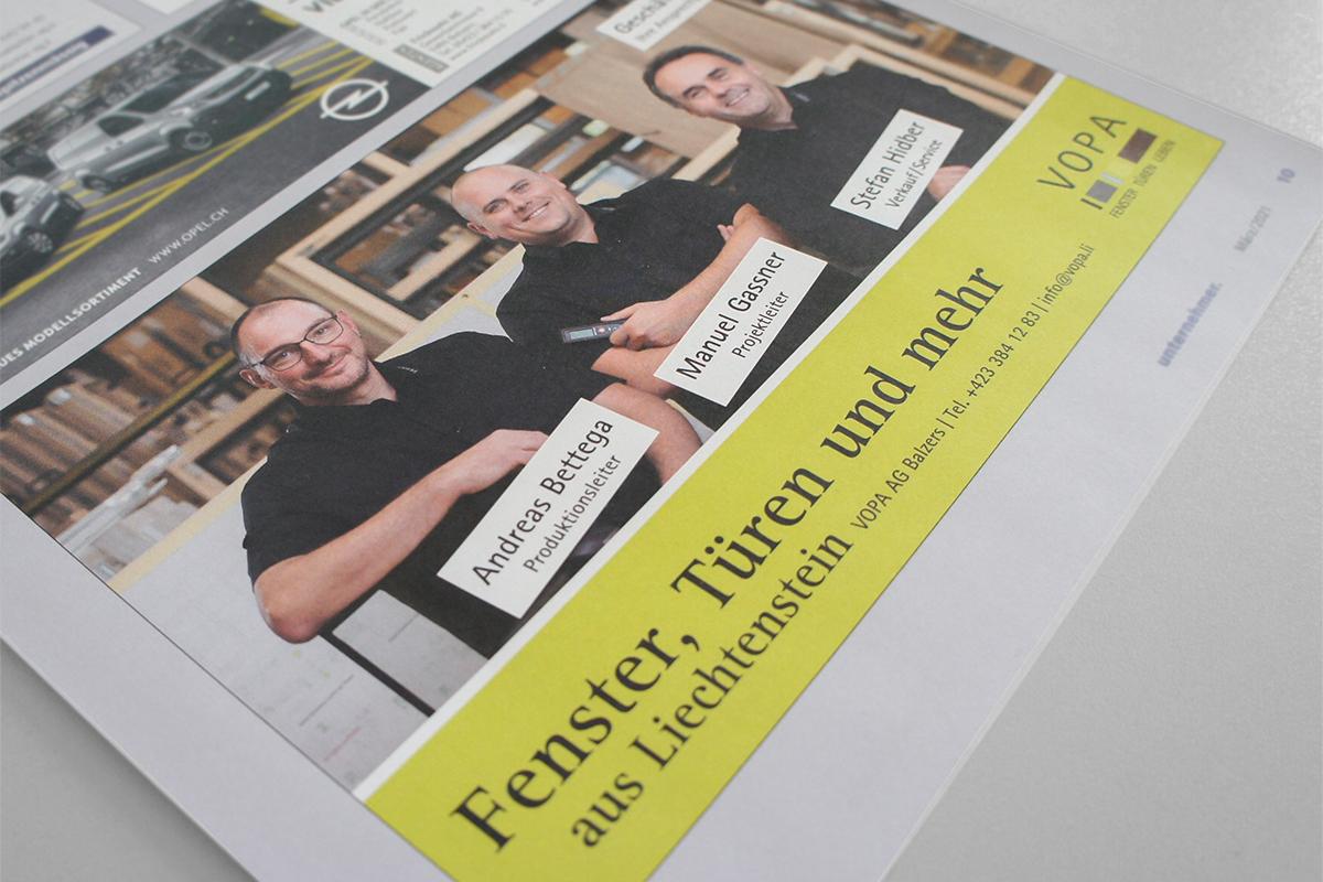 Inserat gestaltung durch GERRYFRICK Est. im Liechtenstein die Agentur für starke Marken am Bau